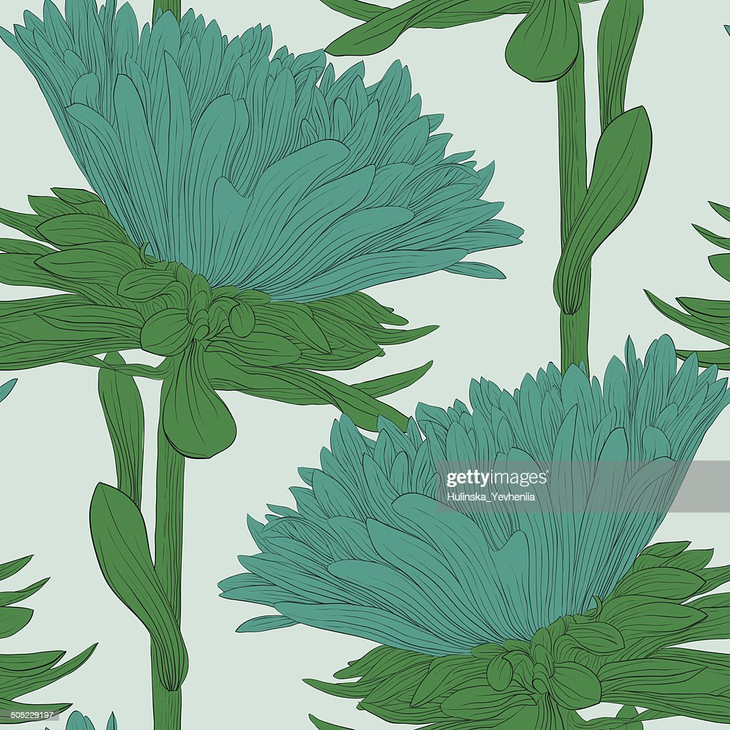 Beautiful seamless background with blue flowers aster.