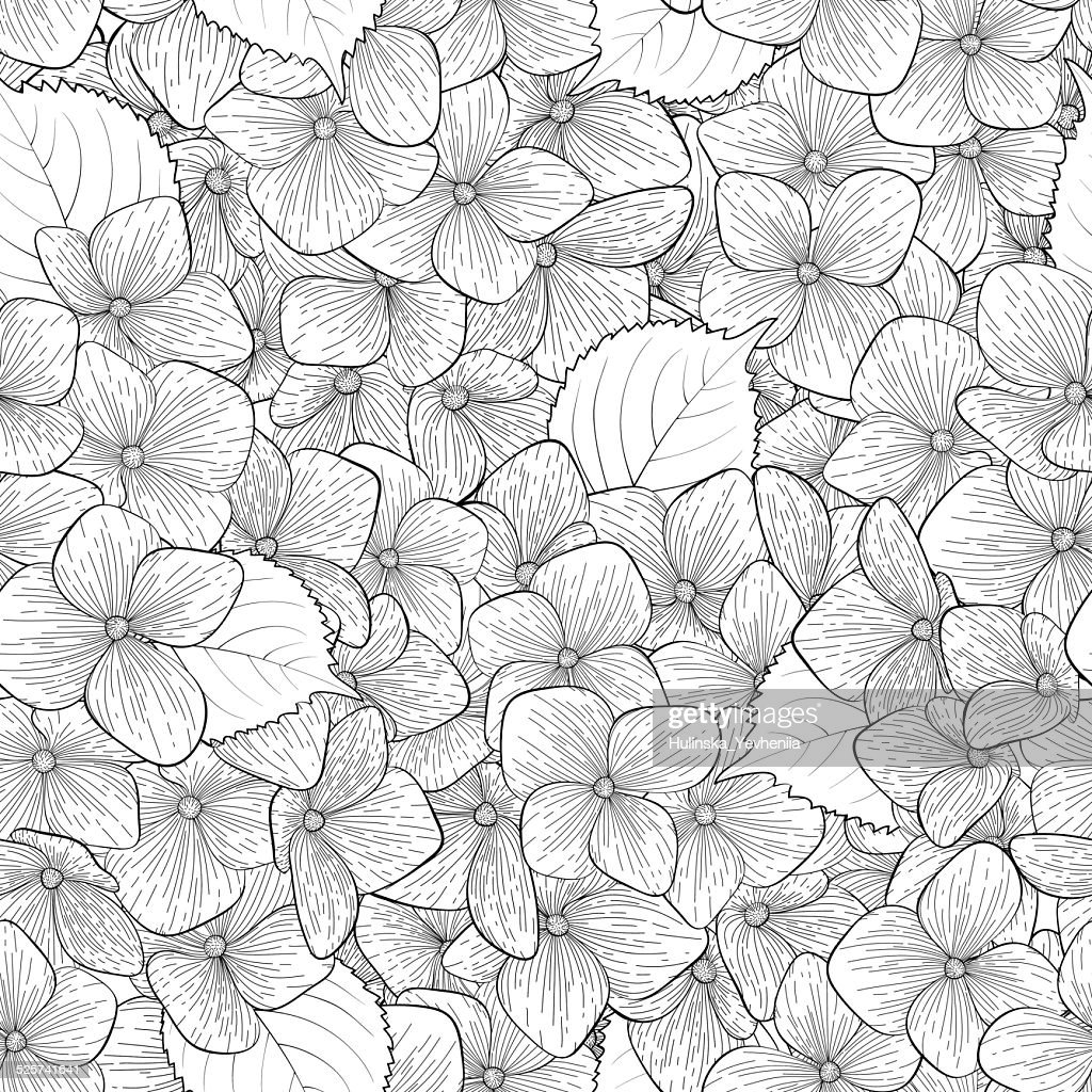 Beautiful seamless background with monochrome, black and white flowers.