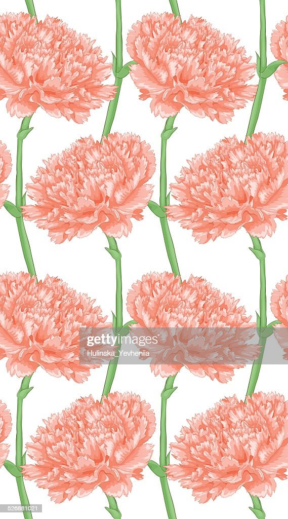 Beautiful seamless background with pink carnation.