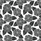 beautiful seamless black and white pattern in roses and leaves lace.