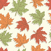 Beautiful seamless doodle pattern with vintage maple leaves sketch. design background greeting cards and invitations to the wedding, birthday, mother s day and other seasonal autumn holidays