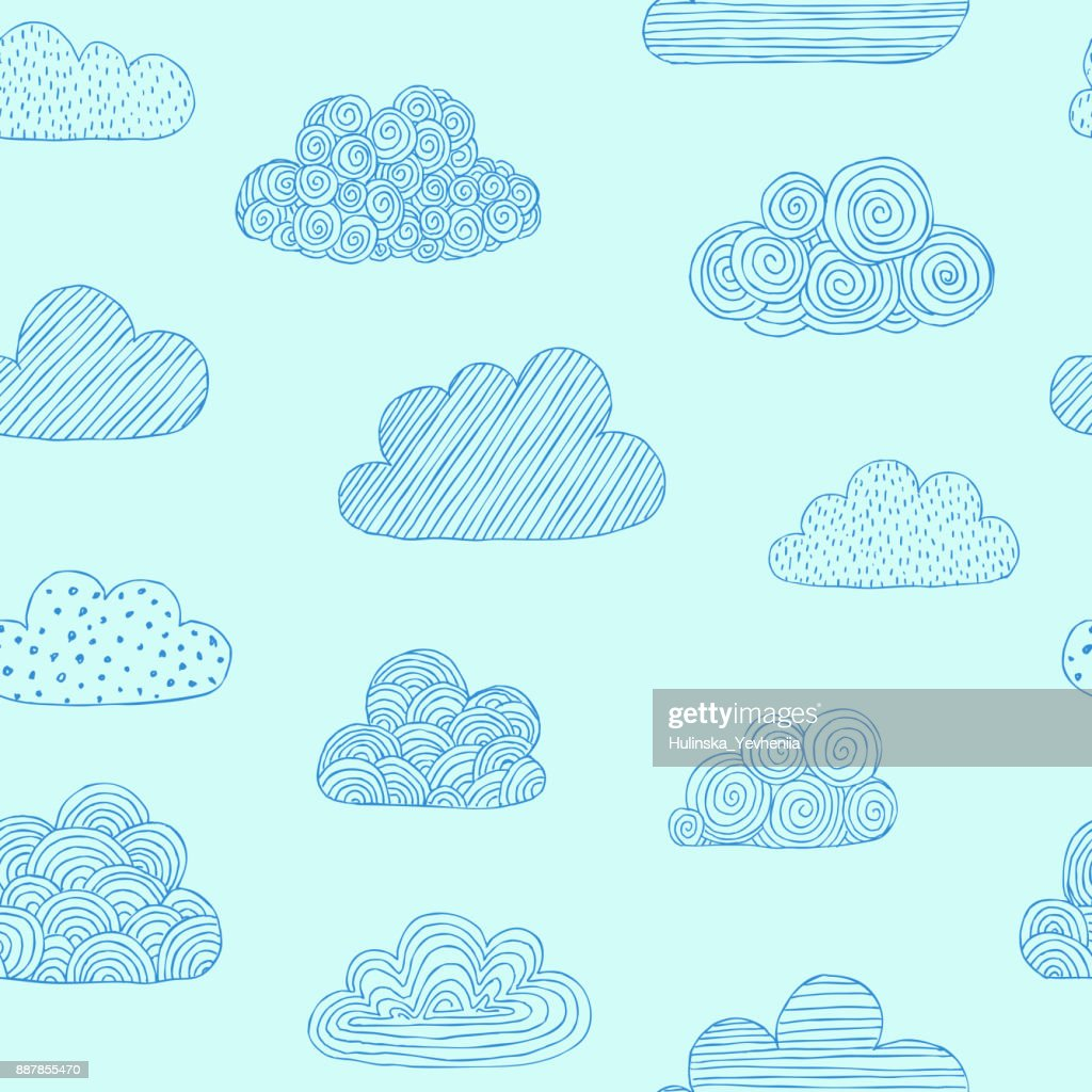 Beautiful Seamless Pattern Of Doodle Clouds Design Background