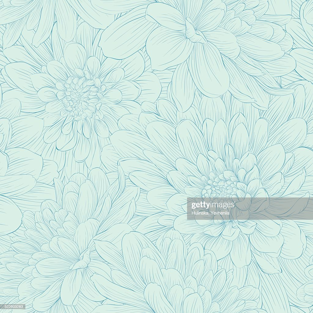 Beautiful seamless pattern with blue dahlia flowers.