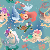 Beautiful seamless pattern with cute mermaid girls, princess in floral wreath, bouquets, turtle and fish