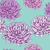 Beautiful seamless pattern with flowers like a asters or chrysanthemums.