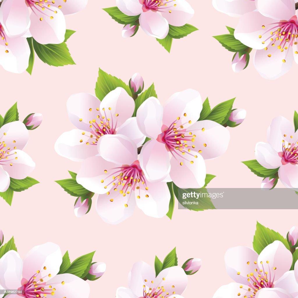 Beautiful seamless pattern with flowers sakura