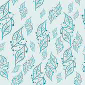 Beautiful Seamless Pattern with forest leaves Florals. Hand drawn flowers and twigs.Vector Seamless leaves.