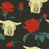 Beautiful seamless pattern with hand drawn head skull of animal and red roses