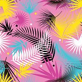 Beautiful seamless tropical jungle floral pattern background with palm leaves. Pop art. Trendy style. Bright colors.