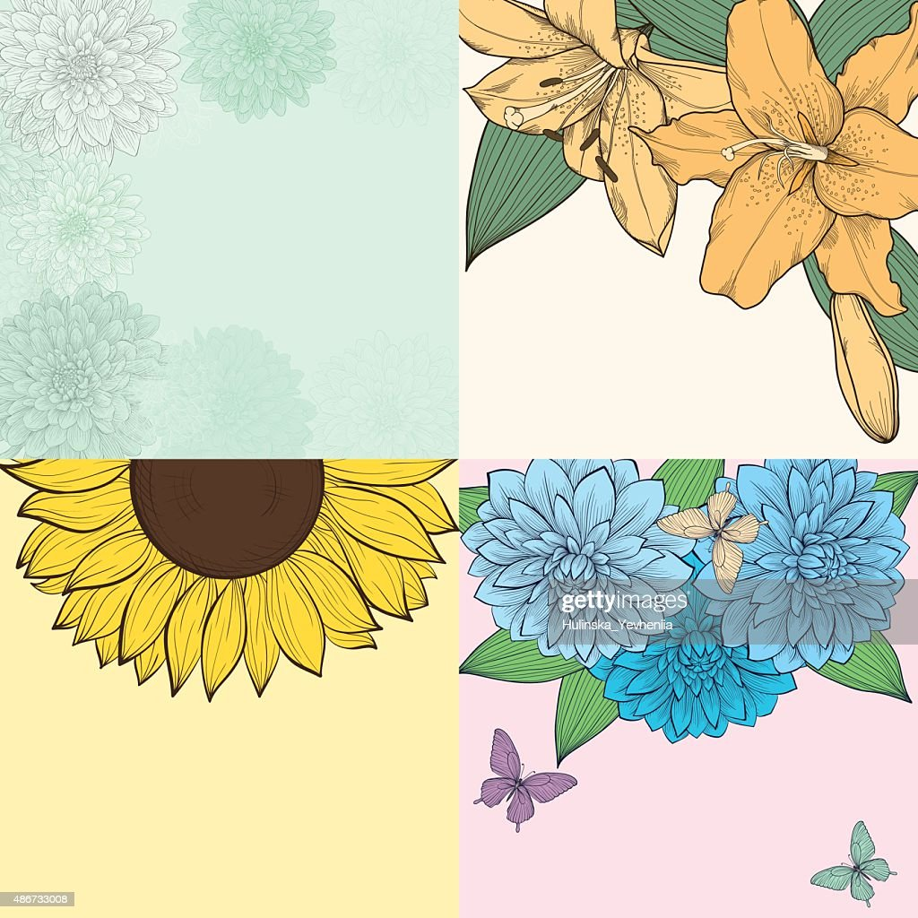 beautiful set of background with space for text, frame of flowers.