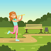 Beautiful smiling girl playing flute while walking in city park, kids outdoor activity vector illustration