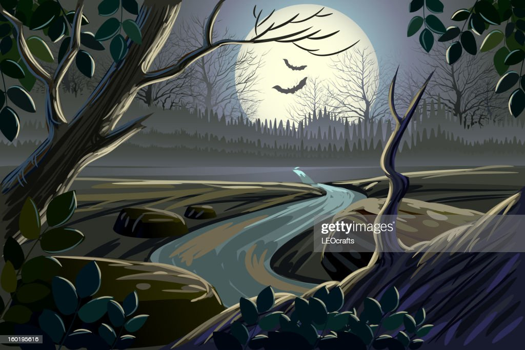 Beautiful spooky landscape : Vector Art