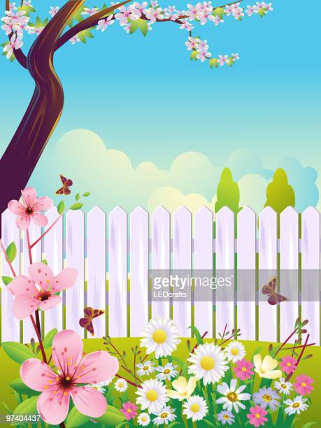 beautiful spring background - springtime stock illustrations, clip art, cartoons, & icons