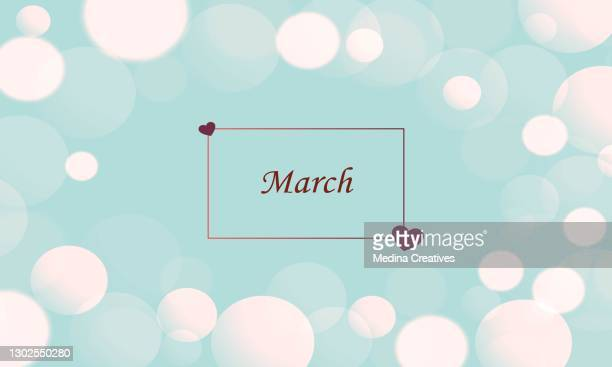 beautiful spring flowers on a pastel blue table top display - march month stock illustrations