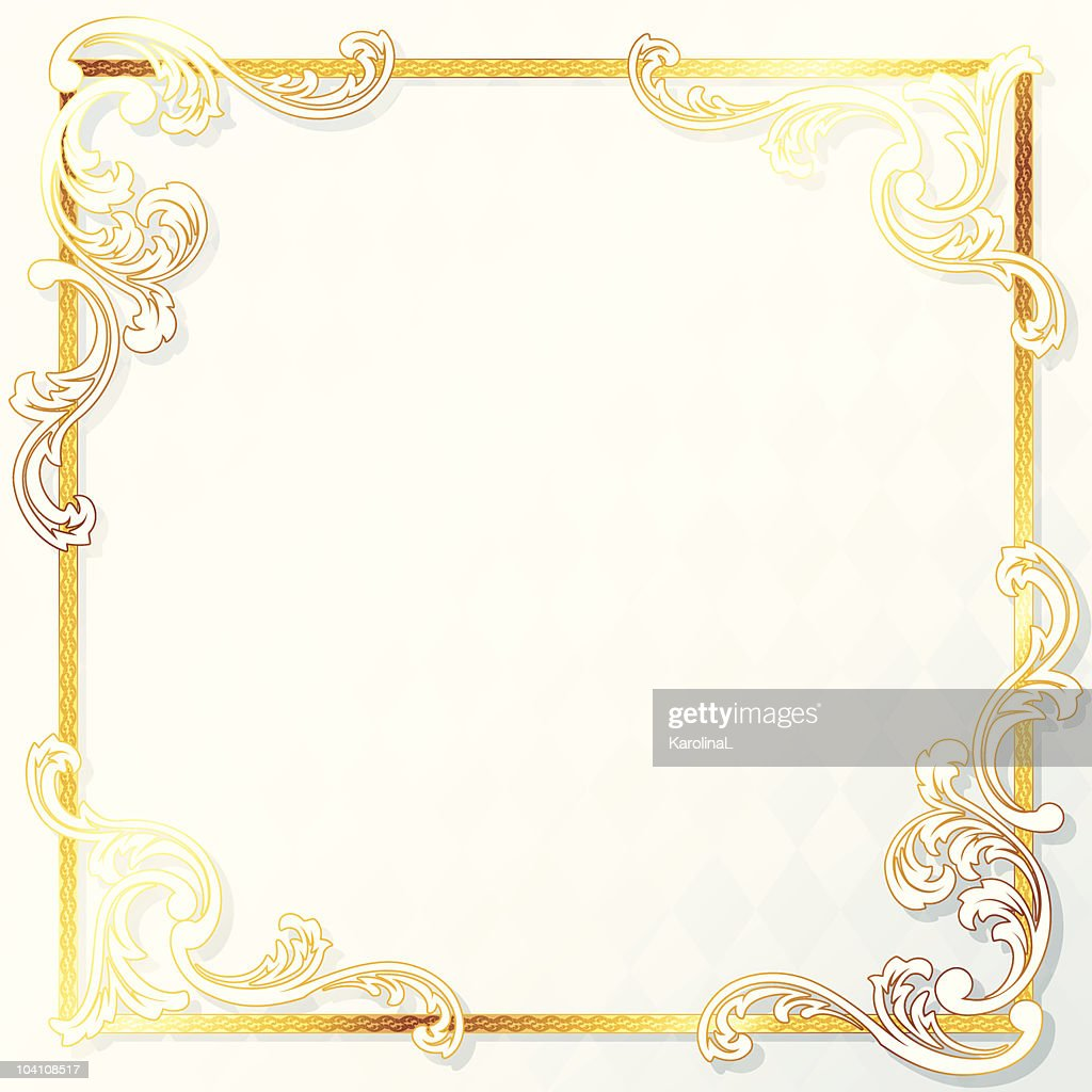 Beautiful square rococo wedding frame