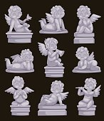Beautiful statue of angel praying isolated marble antique sculpture or monument and cupid boy statue stone decoration symbol vector illustration