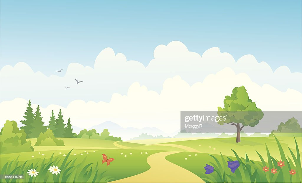 A beautiful summer cartoon landscape image