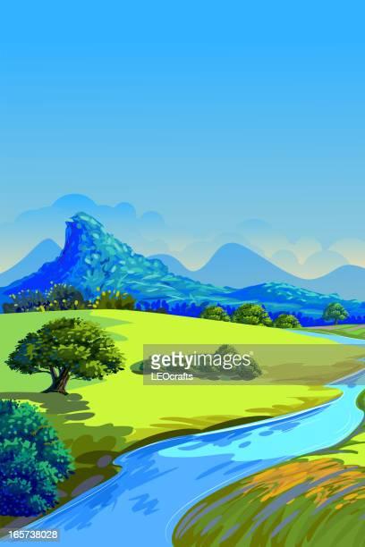 ilustraciones, imágenes clip art, dibujos animados e iconos de stock de hermoso paisaje de verano - valle