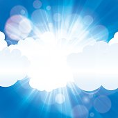 Beautiful sun ray in the clouds with blue sky