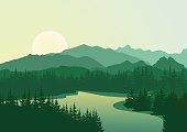 Beautiful sunrise at mountain lake