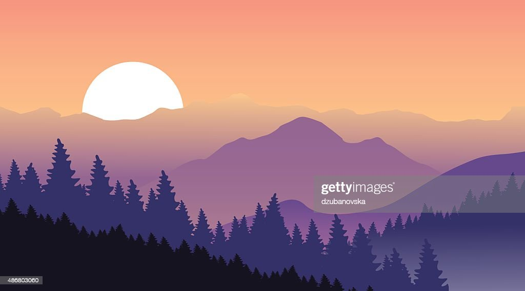 Beautiful sunset at mountains.