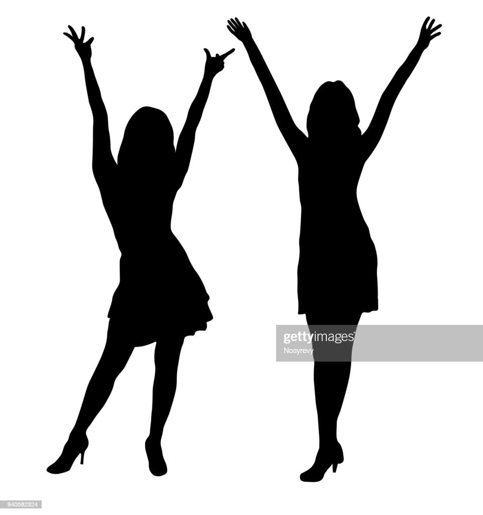 Beautiful tall women on fashion show, silhouette. Vector