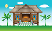 A beautiful traditional wooden Malay style village house. With village scene.