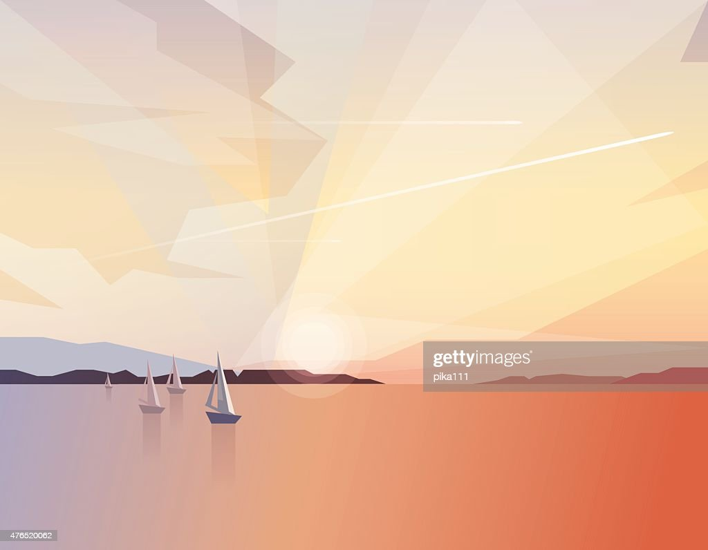 Beautiful tranquil ocean view scenery with sailing boats on sunrise