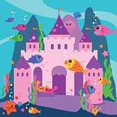 Beautiful underwater castle and sea animals