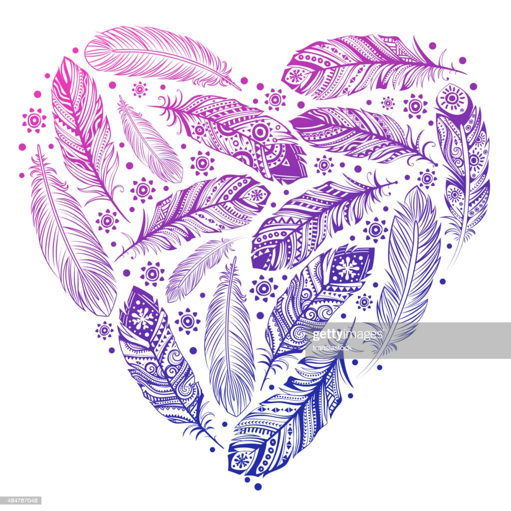 Beautiful Valentines day feather heart
