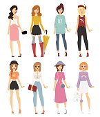 Beautiful vector cartoon fashion girl models look standing over white