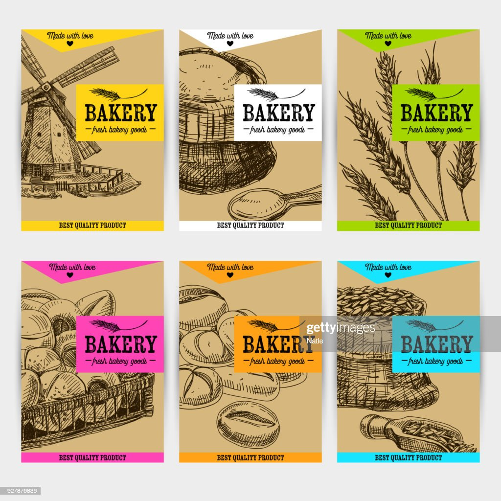 Beautiful vector hand drawn bakery card set.