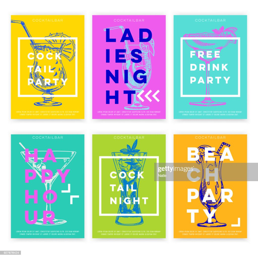 Beautiful vector hand drawn Cocktail bar card set.
