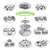 Beautiful vector hand drawn finger food Illustration.
