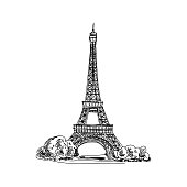 Beautiful vector hand drawn vintage france architecture Illustration.