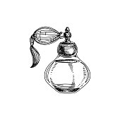 Beautiful vector hand drawn vintage perfume bottle Illustration.