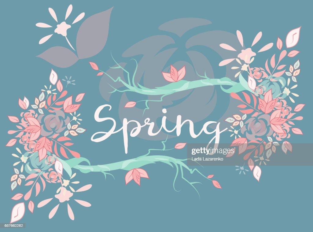 Beautiful vector lettering on spring season