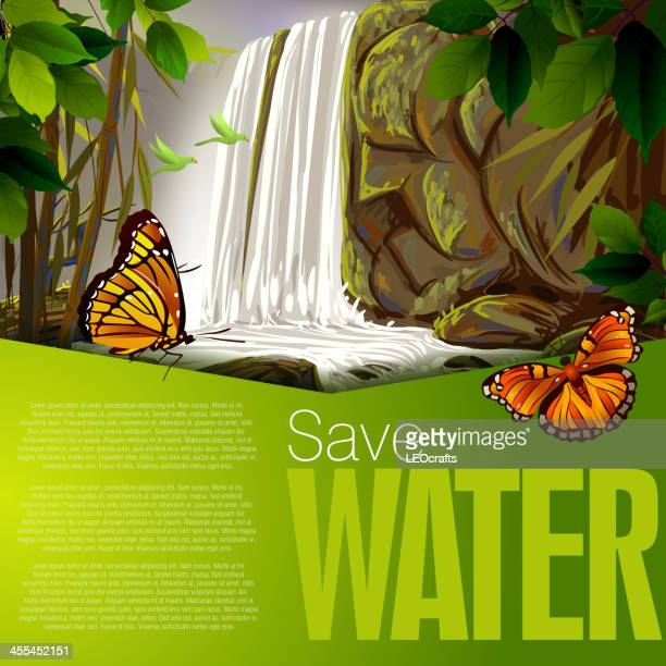 beautiful water fall - waterfall stock illustrations, clip art, cartoons, & icons