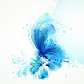 Beautiful watercolor abstract translucent butterfly on the blue flower on the white background.