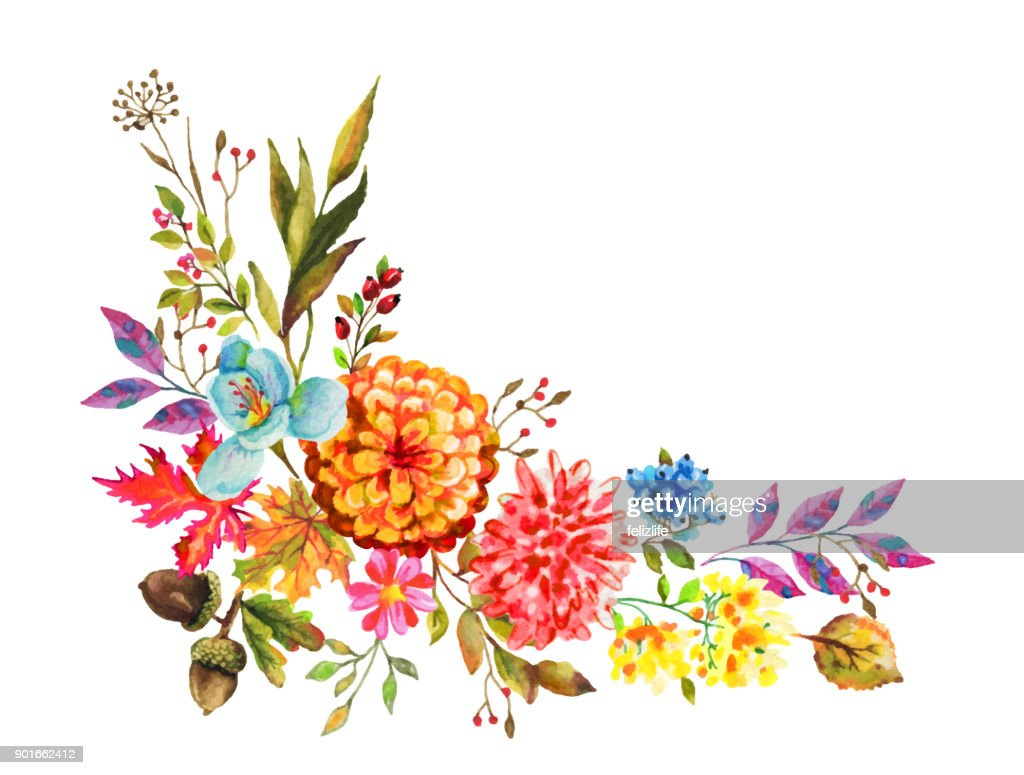 Beautiful Watercolor Flowers For You Design Vector Art Getty Images