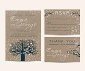 beautiful wedding invitation set with fairy tree