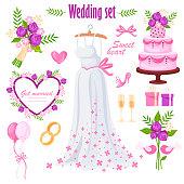beautiful wedding set. bride's dress. isolated elements.