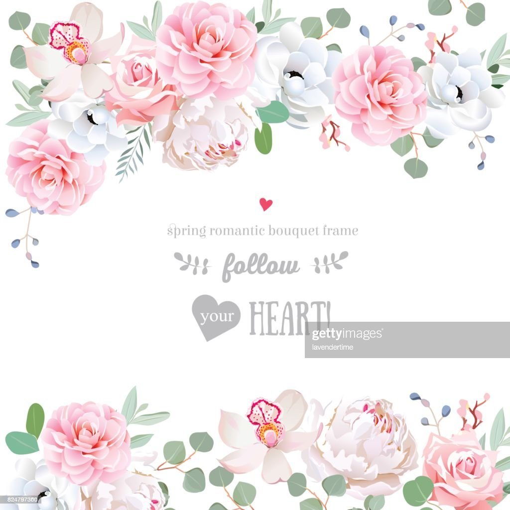 Beautiful wedding vector design frame with flowers