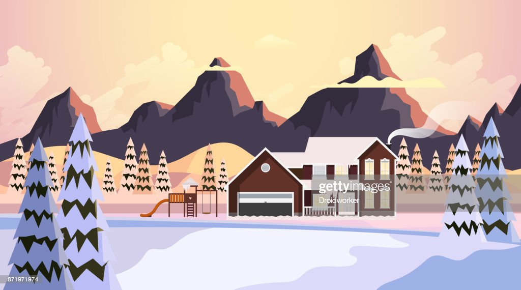 Beautiful Winter Vector Landscape, Countryside in Winter with Wooden Houses. Illustration