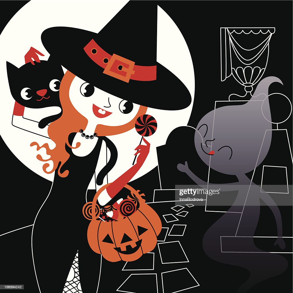 Beautiful Witch, Cat and Ghost.