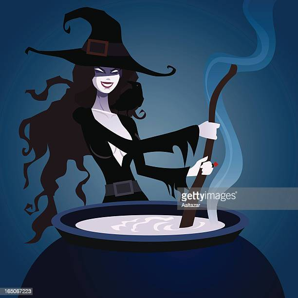 beautiful witch - cauldron stock illustrations, clip art, cartoons, & icons