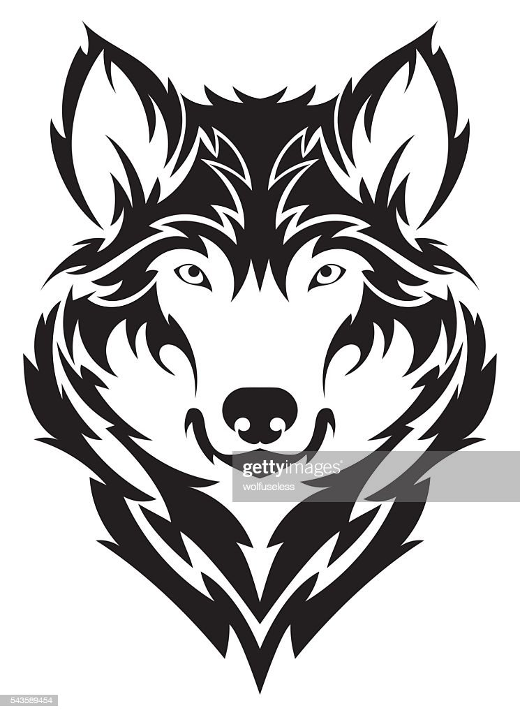 Beautiful wolf tattoo.Vector wolf's head as a design element