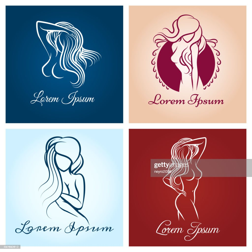 Beautiful woman abstract logo