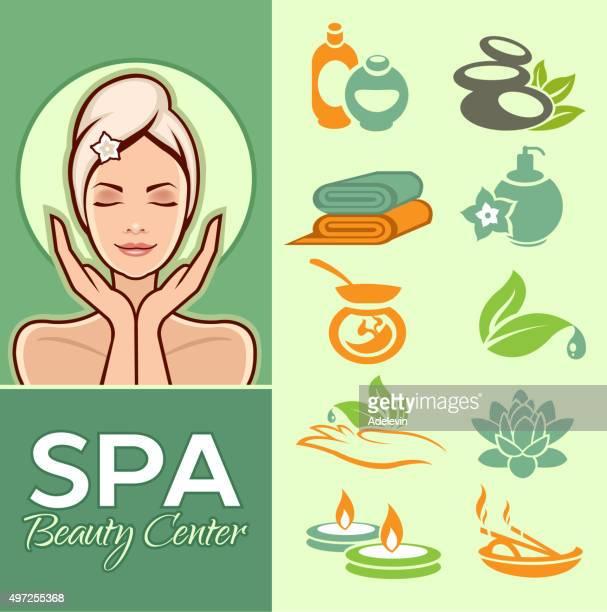 Mujer bella y conjunto de iconos de spa