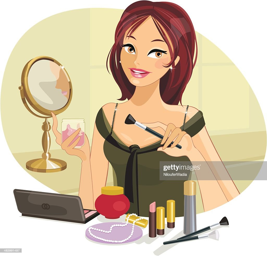 Beautiful Woman doing her Make-up : stock illustration